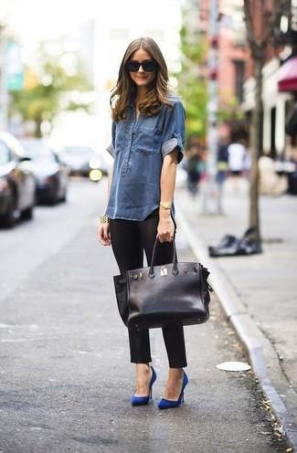 Jeanshemd dunkelblaues leggings schwarze pumps blaue shopper tasche schwarze large 899