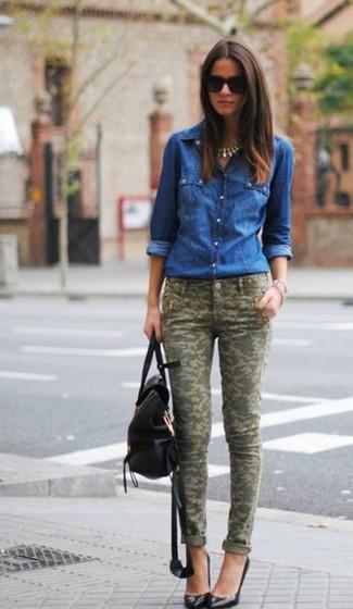 mit was kann man blaues jeanshemd f r damen kombinieren aktuelle modetrends und outfits f r. Black Bedroom Furniture Sets. Home Design Ideas