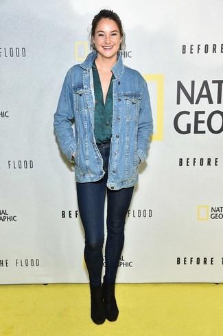 Jeansjacke blaue langarmbluse dunkeltuerkise enge jeans dunkelblaue large 22528