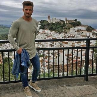 blaue enge Jeans mit Destroyed-Effekten von Threadbare