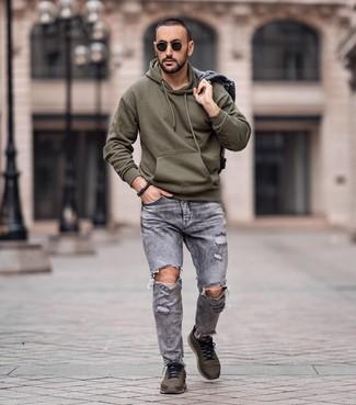 Graue Jacke für Herren kombinieren: lässige Outfits (12