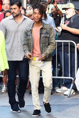 Jeansjacke hellblaue t shirt mit rundhalsausschnitt rosa jeans weisse large 26341