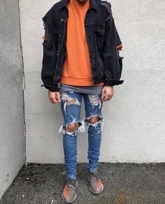 Blaue oder schwarze jeansjacke