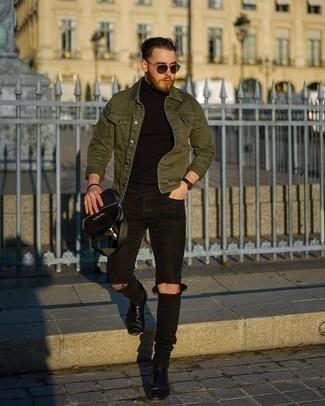 Schwarzen Rollkragenpullover kombinieren – 500+ Herren Outfits: Für ein bequemes Couch-Outfit, kombinieren Sie einen schwarzen Rollkragenpullover mit schwarzen engen Jeans mit Destroyed-Effekten. Fühlen Sie sich mutig? Wählen Sie schwarzen Chelsea Boots aus Leder.