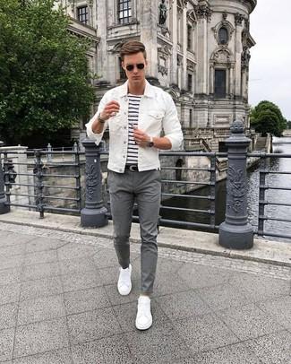 Weisse jeans jacke herren