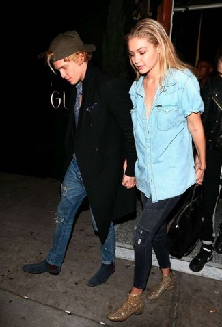 dunkelblaue enge Jeans mit Destroyed-Effekten von BLUE MONKEY