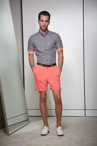 schwarzes und weißes Kurzarmhemd mit Vichy Muster, rosa