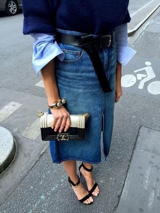 low priced 41ab9 f10a9 blauer Midirock aus Jeans von Asos