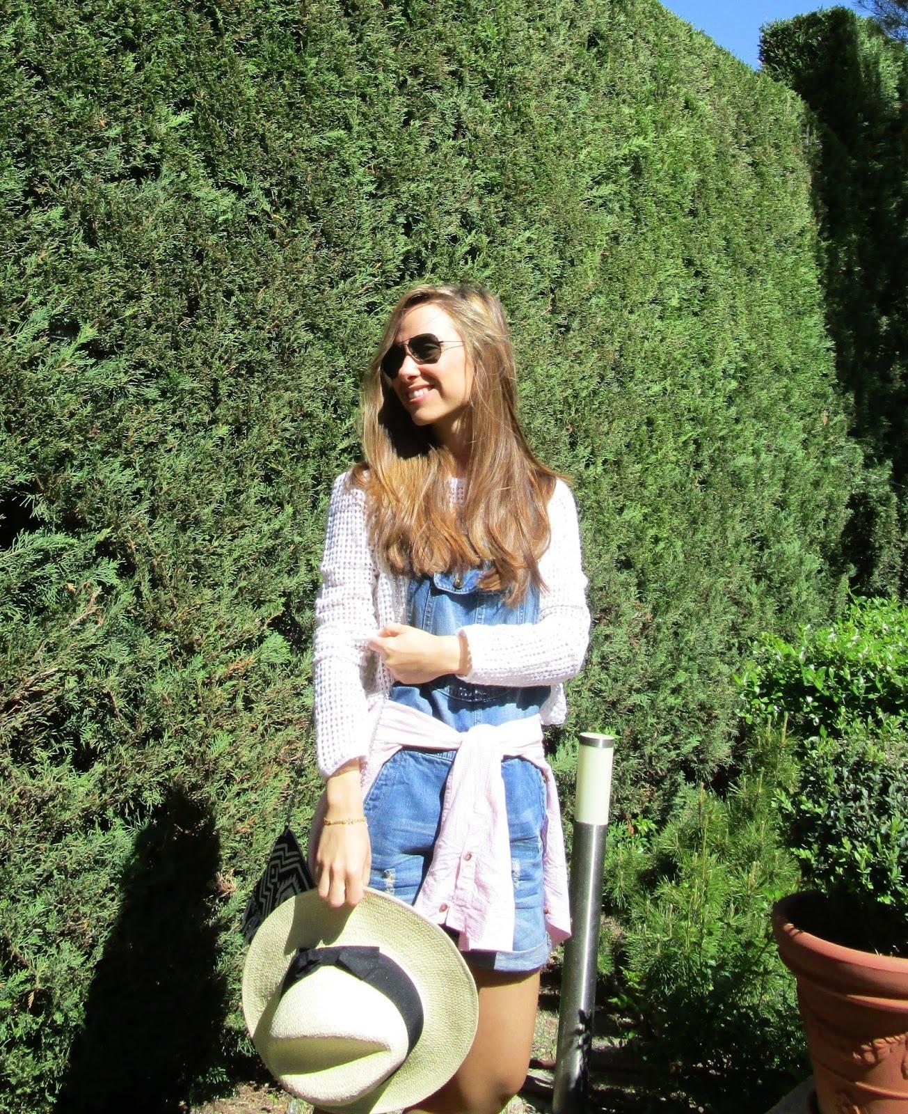 Rosa Mit Latzhose Bluse Pullover Blaue Kurzer Kurze Knöpfen Weißer 1HnI6xI