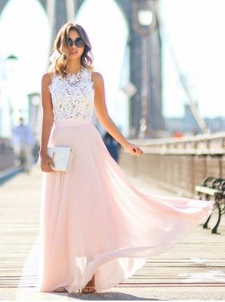 UK-Shop Gratisversand gut aussehend weißes kurzes Oberteil aus Spitze, rosa Chiffon Maxirock ...