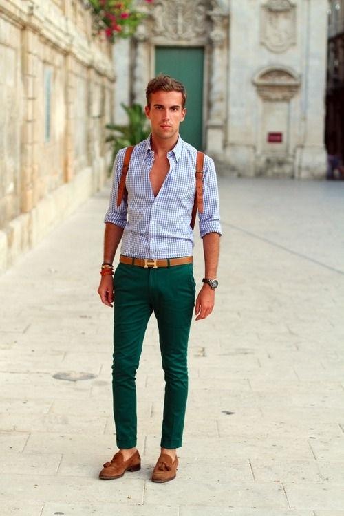 Und Blaues Chinohose Vichy Mit Langarmhemd Weißes MusterGrüne LjA5Rqc34