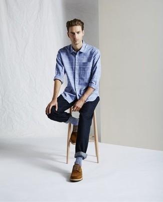Business Schuhe kombinieren – 500+ Herren Outfits: Entscheiden Sie sich für ein hellblaues horizontal gestreiftes Langarmhemd und dunkelblauen Jeans für ein großartiges Wochenend-Outfit. Business Schuhe putzen umgehend selbst den bequemsten Look heraus.