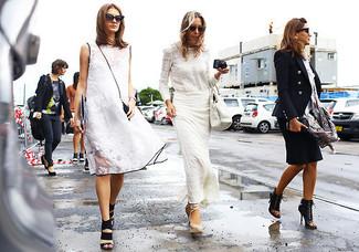weiße Shopper Tasche aus Leder von MM6 MAISON MARGIELA