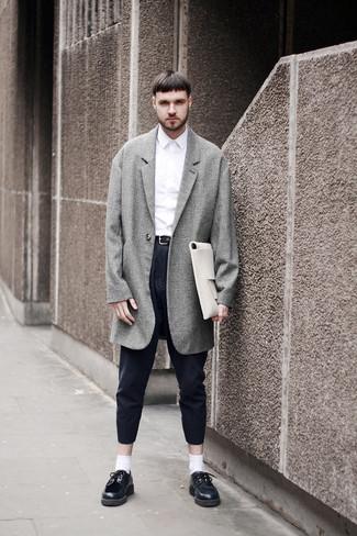 grauer Mantel mit Schottenmuster von Wooyoungmi