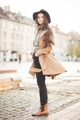 7ac9729ee04cc2 Braune Chelsea-Stiefel aus Leder für Damen kombinieren (18 ...