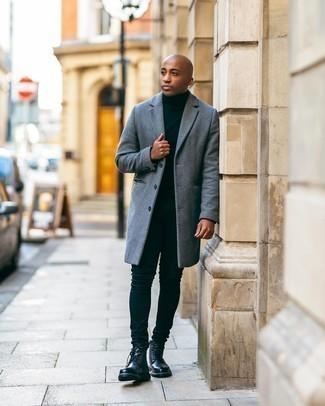 Überzug kombinieren – 500+ Herren Outfits: Kombinieren Sie einen Überzug mit schwarzen engen Jeans, um einen lockeren, aber dennoch stylischen Look zu erhalten. Eine schwarze Lederfreizeitstiefel putzen umgehend selbst den bequemsten Look heraus.