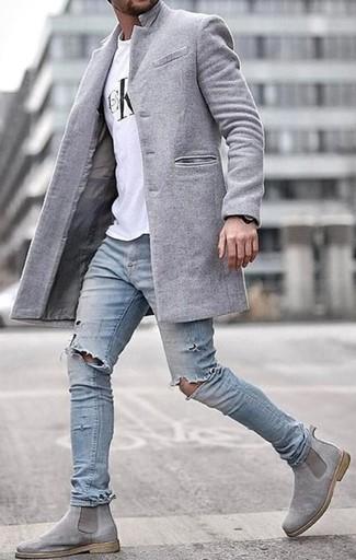 91519ca2505d41 Graue Chelsea-Stiefel aus Wildleder für Herren kombinieren für ...