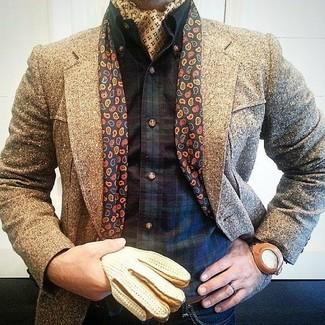 Dunkelblaues und grünes Langarmhemd mit Schottenmuster kombinieren – 48 Herren Outfits kühl Wetter: Kombinieren Sie ein dunkelblaues und grünes Langarmhemd mit Schottenmuster mit dunkelblauen Jeans, um mühelos alles zu meistern, was auch immer der Tag bringen mag.