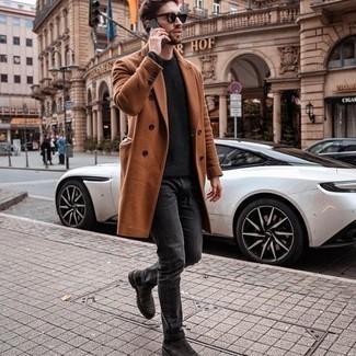 Sonnenbrille kombinieren – 500+ Herren Outfits: Für ein bequemes Couch-Outfit, kombinieren Sie einen rotbraunen Mantel mit einer Sonnenbrille. Schalten Sie Ihren Kleidungsbestienmodus an und machen schwarzen Chelsea Boots aus Leder zu Ihrer Schuhwerkwahl.