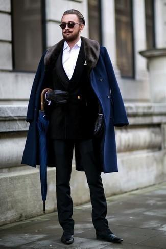 schwarze Lederhandschuhe von Gucci