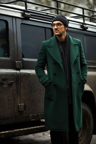 Mantelschwarzer Pullover grüner Mantelschwarzer einem grüner mit Pullover 1Jc3F5uTKl