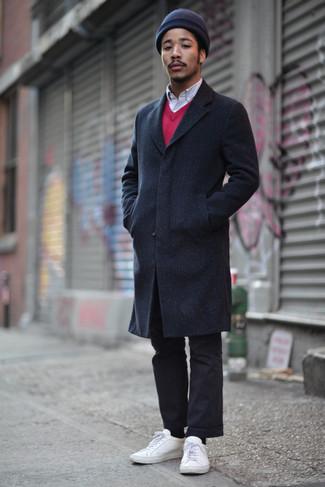 fuchsia Pullover mit einem V-Ausschnitt von Gant