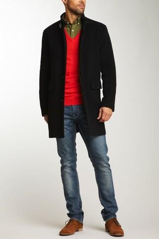 roter Pullover mit einem V-Ausschnitt von Gant