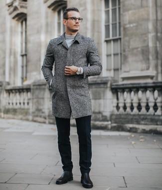 Schwarze Wollanzughose kombinieren: trends 2020: Tragen Sie einen grauen Mantel und eine schwarze Wollanzughose für eine klassischen und verfeinerte Silhouette. Suchen Sie nach leichtem Schuhwerk? Ergänzen Sie Ihr Outfit mit schwarzen Chelsea Boots aus Leder für den Tag.
