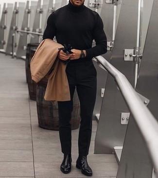Schwarze Lederhandschuhe kombinieren – 239 Herren Outfits: Ein camel Mantel und schwarze Lederhandschuhe vermitteln eine sorglose und entspannte Atmosphäre. Fühlen Sie sich ideenreich? Vervollständigen Sie Ihr Outfit mit schwarzen Chelsea Boots aus Leder.