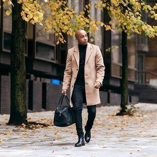 Überzug kombinieren – 500+ Herren Outfits: Kombinieren Sie einen Überzug mit schwarzen engen Jeans, um mühelos alles zu meistern, was auch immer der Tag bringen mag. Vervollständigen Sie Ihr Outfit mit schwarzen Chelsea Boots aus Leder, um Ihr Modebewusstsein zu zeigen.