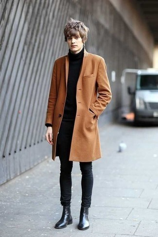 Schwarzen Rollkragenpullover kombinieren – 1045+ Herren Outfits: Kombinieren Sie einen schwarzen Rollkragenpullover mit dunkelgrauen engen Jeans, um einen lockeren, aber dennoch stylischen Look zu erhalten. Fügen Sie schwarzen Chelsea Boots aus Leder für ein unmittelbares Style-Upgrade zu Ihrem Look hinzu.