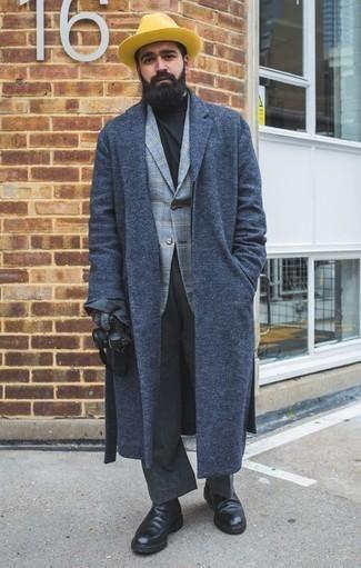 Graue Wollhandschuhe kombinieren: trends 2020: Ein dunkelblauer Mantel und graue Wollhandschuhe sind eine kluge Outfit-Formel für Ihre Sammlung. Schalten Sie Ihren Kleidungsbestienmodus an und machen schwarzen Chelsea Boots aus Leder zu Ihrer Schuhwerkwahl.