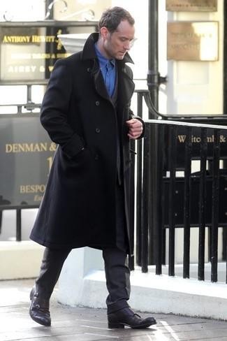 Mantel schwarzer anzug dunkelgrauer langarmhemd blaues large 1325