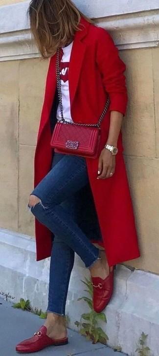 rote gesteppte Leder Umhängetasche von RED Valentino