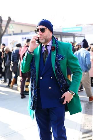 Wie kombinieren: grüner Mantel, dunkelblaues Zweireiher-Sakko, hellviolettes vertikal gestreiftes Businesshemd, dunkelblaue Anzughose