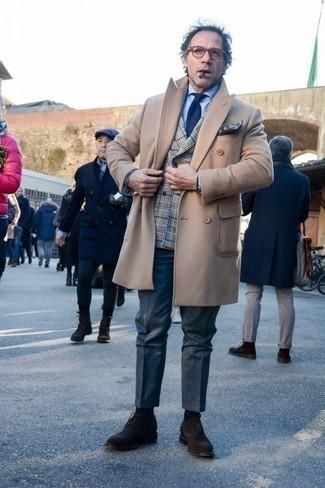 Graues Zweireiher-Sakko mit Schottenmuster kombinieren: trends 2020: Entscheiden Sie sich für einen klassischen Stil in einem grauen Zweireiher-Sakko mit Schottenmuster und einer dunkelblauen Anzughose. Dunkelbraune Wildleder Oxford Schuhe fügen sich nahtlos in einer Vielzahl von Outfits ein.