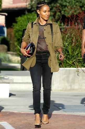 Militaerjacke t shirt mit einem rundhalsausschnitt jeans large 27412