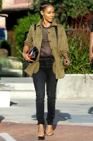 Militaerjacke t shirt mit rundhalsausschnitt jeans large 27412