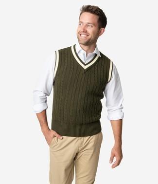 olivgrüner Pullover von Calvin Klein