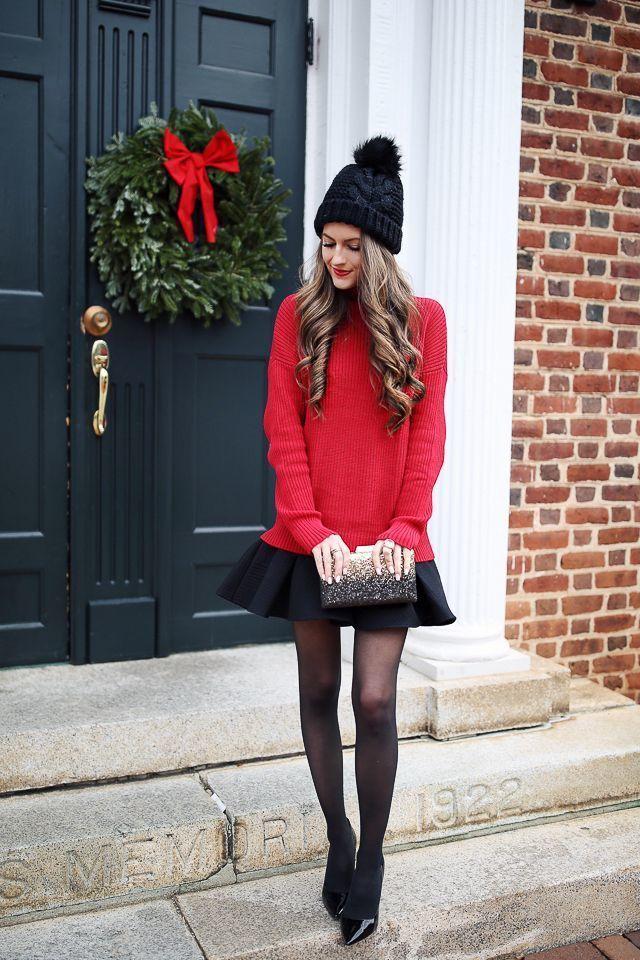 roter Oversize Pullover, schwarzer Skaterrock, schwarze Leder Pumps,  schwarze Paillette Clutch für Damen   Damenmode 8b8d351abd