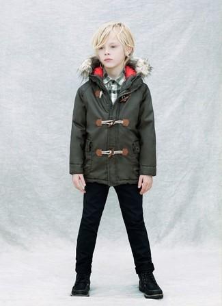 Wie kombinieren: dunkelgrüner Parka, dunkelgrünes Langarmhemd mit Schottenmuster, schwarze Jeans, schwarze Stiefel