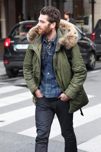 Parka jeansjacke t shirt mit rundhalsausschnitt jeans schal large 5141