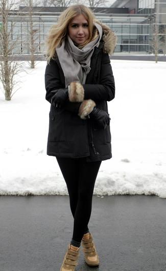 schwarze Lederhandschuhe von Valentino