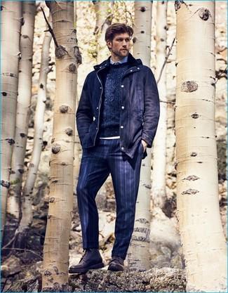 dunkelblaue vertikal gestreifte Anzughose von Asos