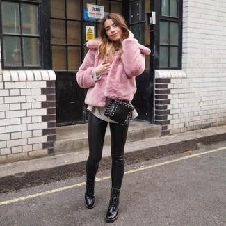 schwarze beschlagene Leder Umhängetasche von Park Lane
