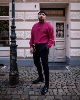 Wie Pullover mit einem Reißverschluss am Kragen mit Chinohose zu kombinieren – 41 Herren Outfits: Paaren Sie einen Pullover mit einem Reißverschluss am Kragen mit einer Chinohose, um mühelos alles zu meistern, was auch immer der Tag bringen mag. Fühlen Sie sich mutig? Ergänzen Sie Ihr Outfit mit schwarzen Leder Derby Schuhen.