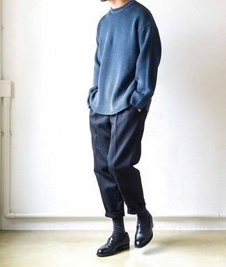 Business Schuhe kombinieren – 500+ Herren Outfits: Entscheiden Sie sich für einen dunkelblauen Pullover mit einem Rundhalsausschnitt und eine dunkelblaue Chinohose für ein großartiges Wochenend-Outfit. Wählen Sie Business Schuhe, um Ihr Modebewusstsein zu zeigen.