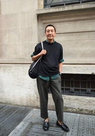 schwarze Shopper Tasche aus Segeltuch von Vyner Articles