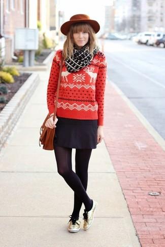 Roten und weißen Pullover mit Norwegermuster kombinieren (16