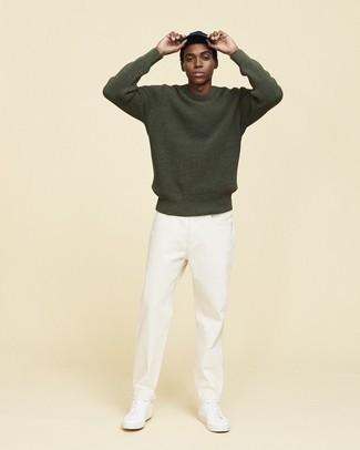 olivgrüner Pullover